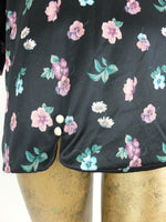 80s Romantic Bohemian Floral Black 3/4 Sleeve Blouse
