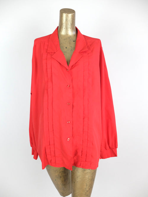 60s Mod Red Pleated Long Sleeve V-Neck Collared Button Up Blouse