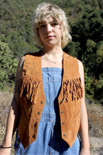 80s Western Hippie Rust Orange Fringed Suede Leather Sleeveless Rodeo Waistcoat Vest