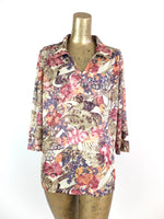 80s Abstract Pink Floral 3/4 Sleeve Button Up Collared Blouse