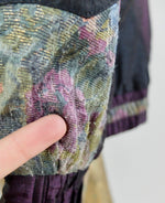 80s Floral Crushed Velvet Tapestry Patchwork Padded Windbreaker Jacket