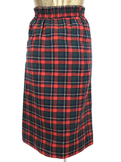 80s Punk Style Red and Green Wool Tartan Check Print High Waisted Below-the-Knee Midi Skirt