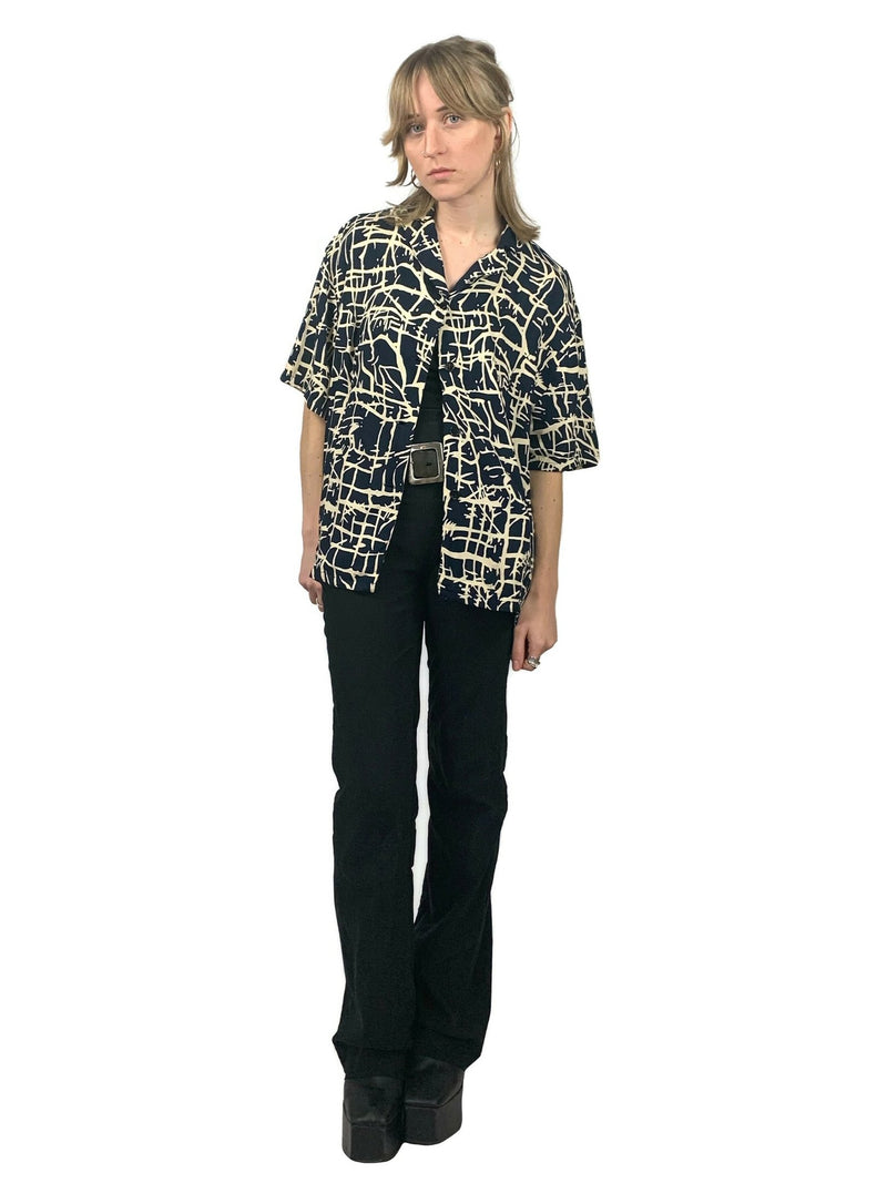 Vintage 80s Navy Blue Abstract Collared Half Sleeve Button Up Shirt