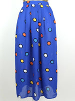 80s Bright Blue Abstract Polka Dot High Waisted Pleated Chiffon Sheer Maxi Skirt