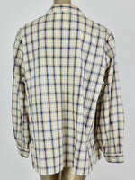70s Western Check Print Long Sleeve Collared Button Up Shirt