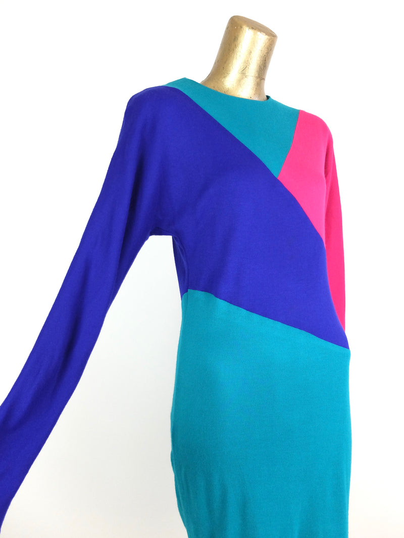 80s Bold Solid Colorblocked Bright Long Sleeve Below-the-Knee Midi Dress