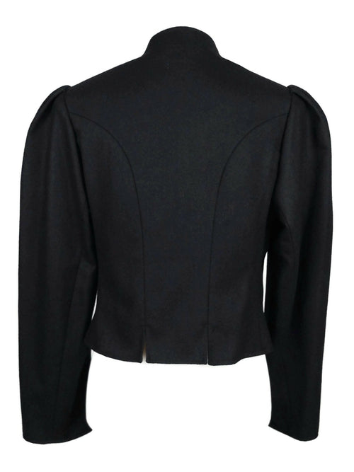 Vintage 70s Black Wool Traditional German Alpen Trachten Puff Sleeve Button Down Blazer Jacket