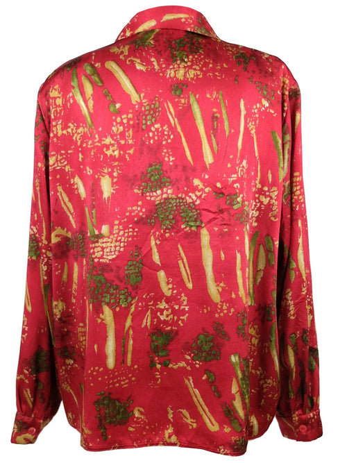 Vintage 80s Red Silky Abstract Print Collared Long Sleeve Button Up Blouse