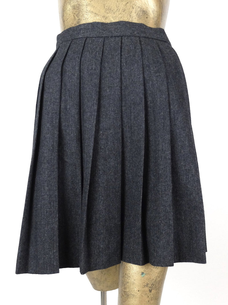 80s Gray Wool High Waisted Pleated A-Line Above the Knee Mini Skirt