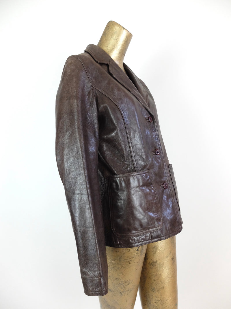 90s Wilsons Dark Brown Collared Button Up Waxed Leather Peacoat Jacket