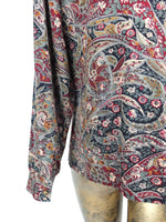 70s Psychedelic Paisley Bohemian Collared Long Sleeve Button Up Shirt