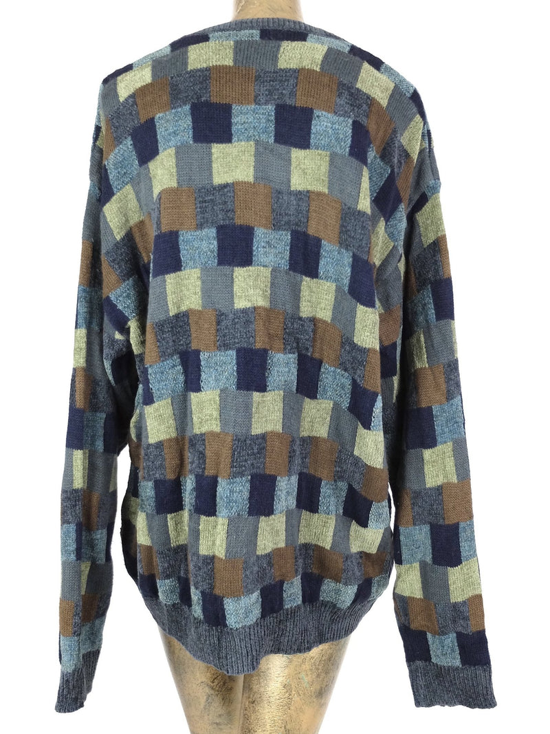 80s Abstract Geometric Velour Crew Neck Pullover Sweater Jumper