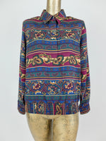 80s Abstract Paisley Collared Long Sleeve Button Up Blouse with Padded Shoulders