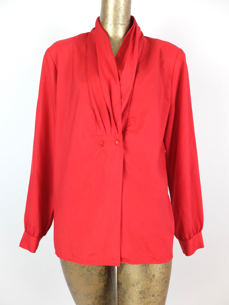 70s Mod Red Pleated V-Neck Long Sleeve Button Up Blouse