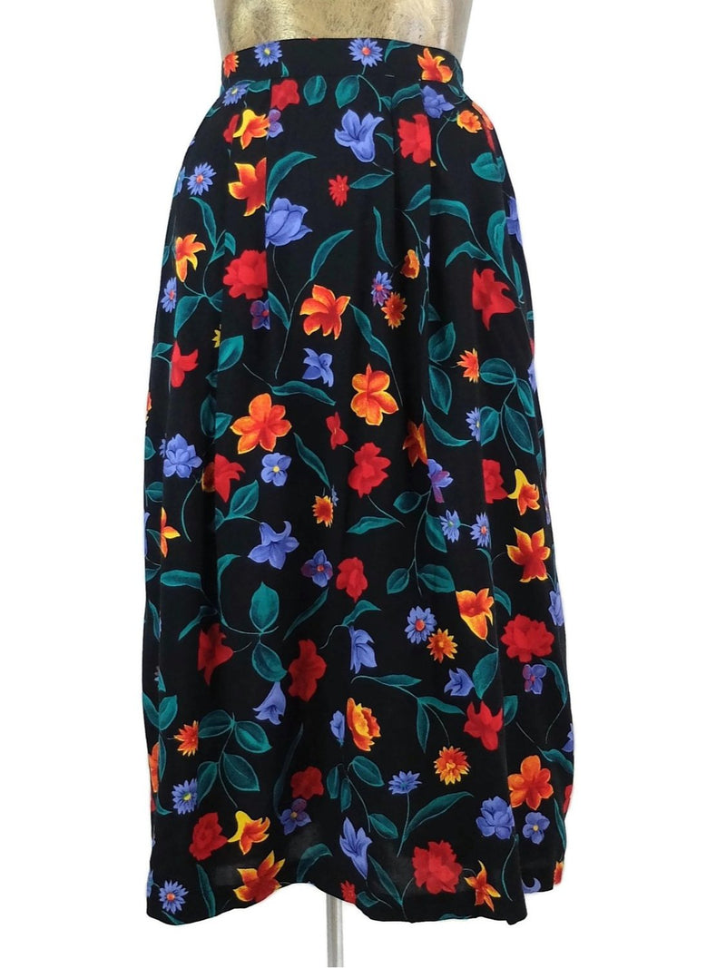 90s Floral Black High Waisted Full Circle Midi Skirt
