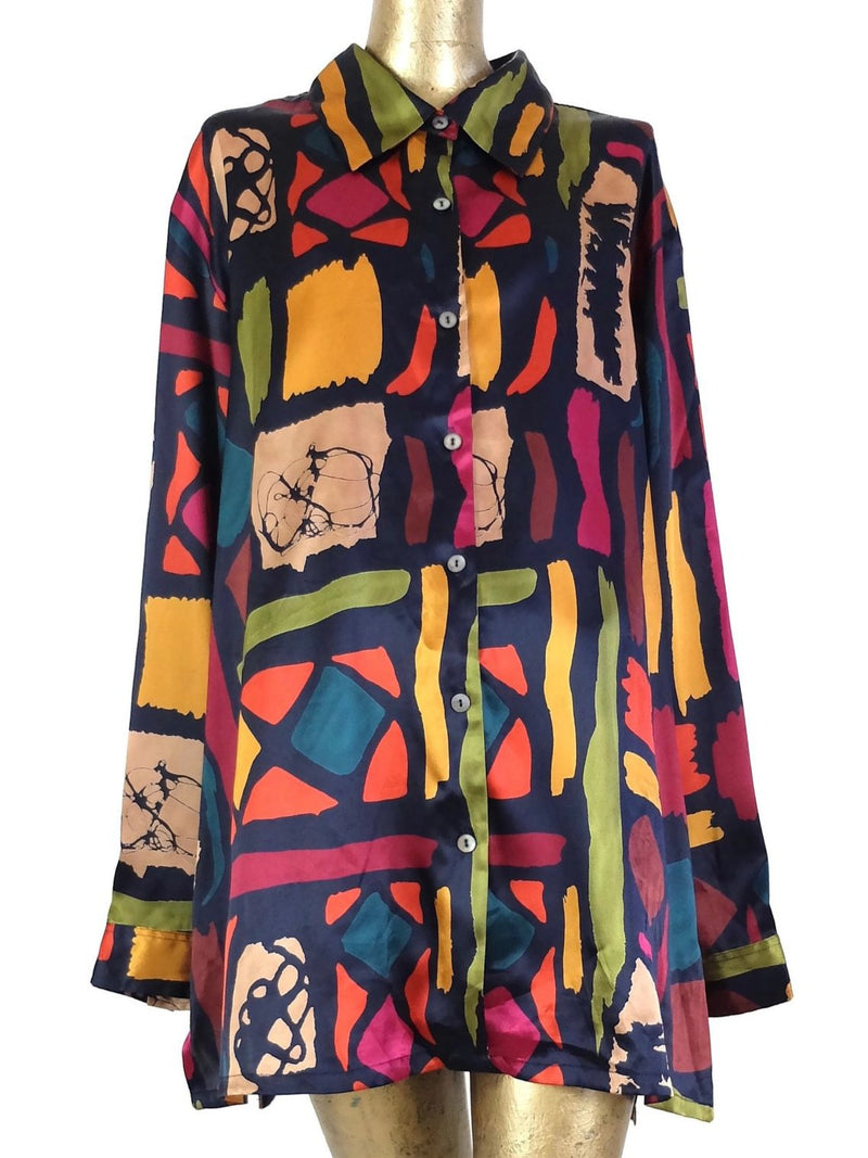 80s Abstract Patterned Silky Long Sleeve Collared Button Up Blouse