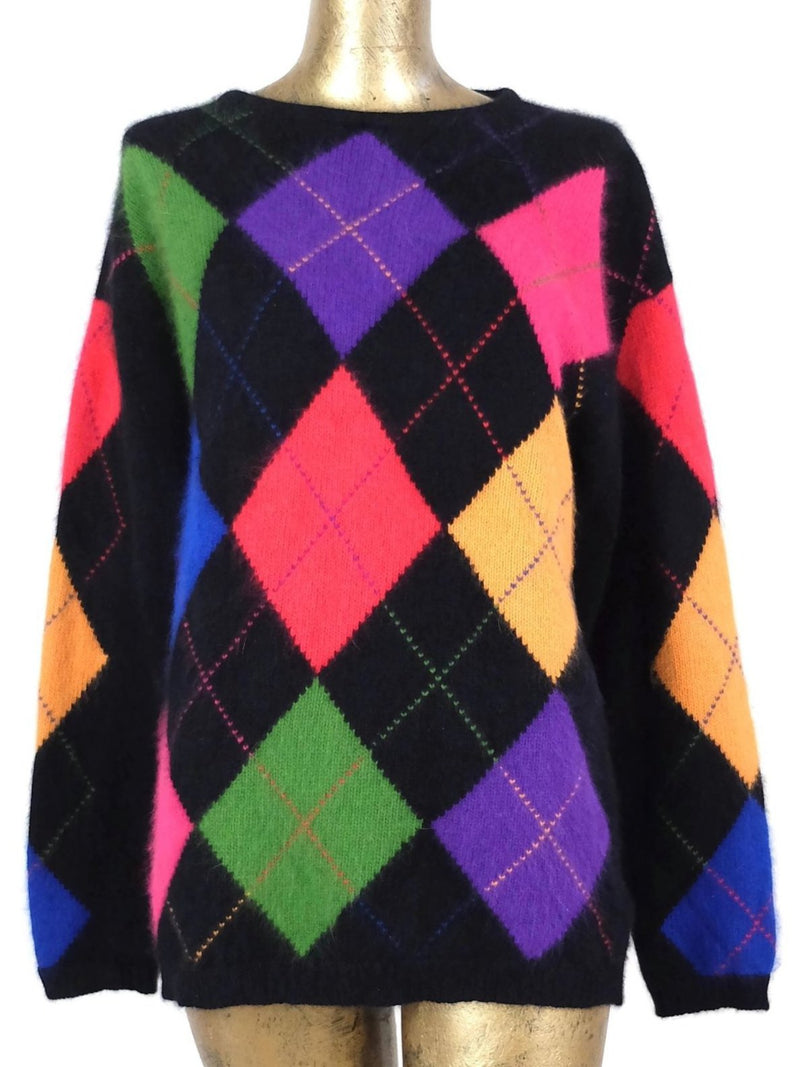 90s Fuzzy Angora Black Rainbow Argyle Check Pullover Crew Neck Sweater Jumper