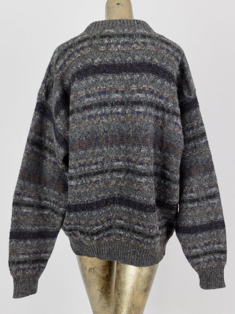 80s Knit Pullover Striped Wool Sweater Jumper
