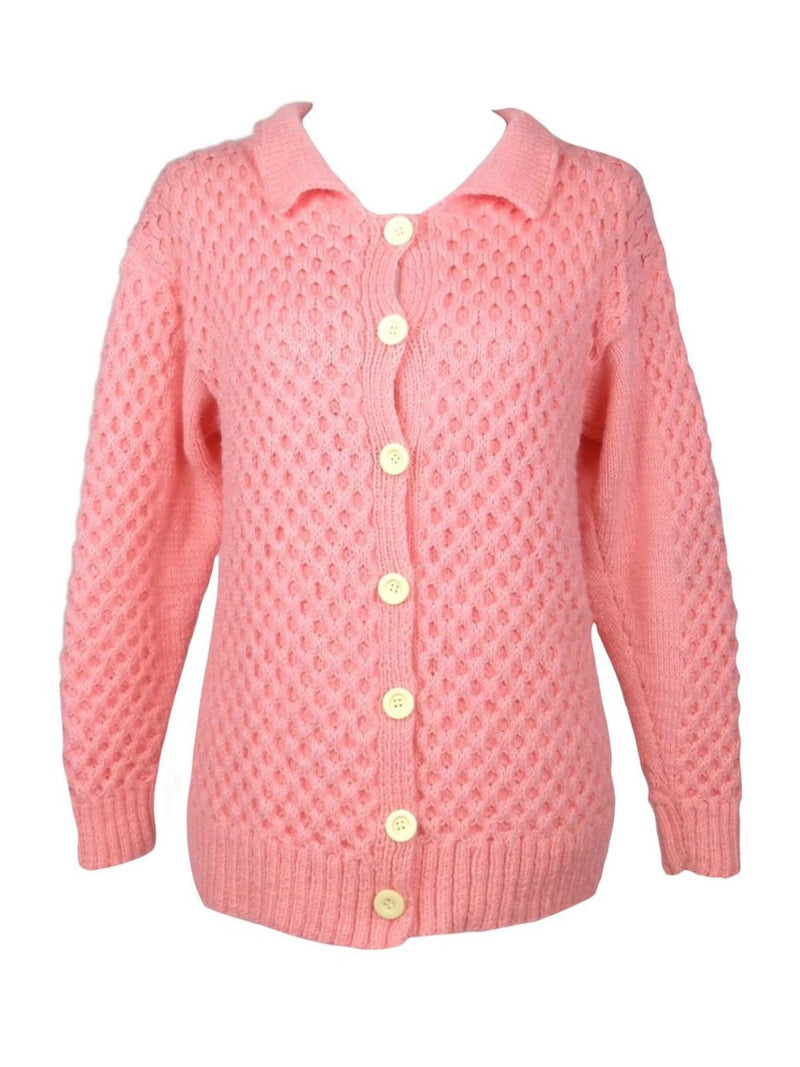Vintage 60s Mod Bubblegum Pink Acrylic Knit Collared Button Down Cardigan