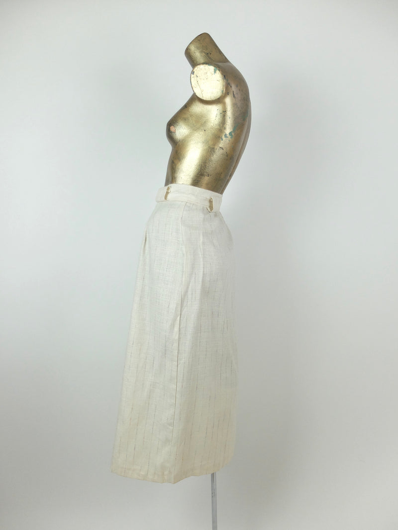 70s Mod Deadstock High Waisted Cream Textured Button Down Maxi Skirt