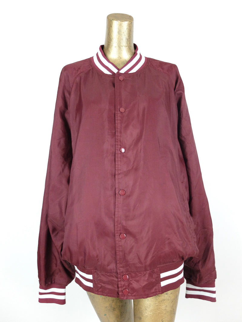 80s Athletic Sportswear Maroon Red Snap Up Windbreaker Baseball Jacket