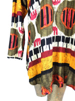 80s Abstract Print Rust Orange-Red Long Sleeve Open Shawl Blouse