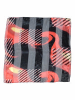 Vintage 80s Red and Black Abstract Silky Chiffon Bandana Neck Tie Scarf