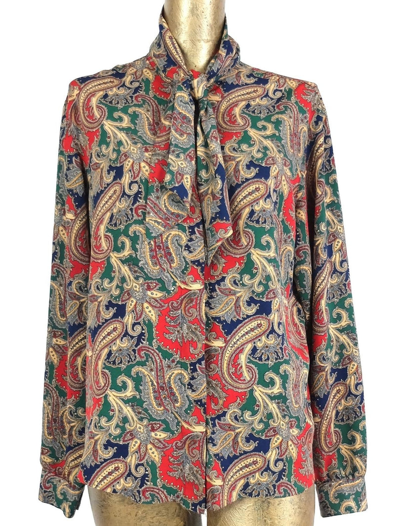 70s Mod Psychedelic Paisley Long Sleeve Pussy Bow Neck Tie Button Up Blouse