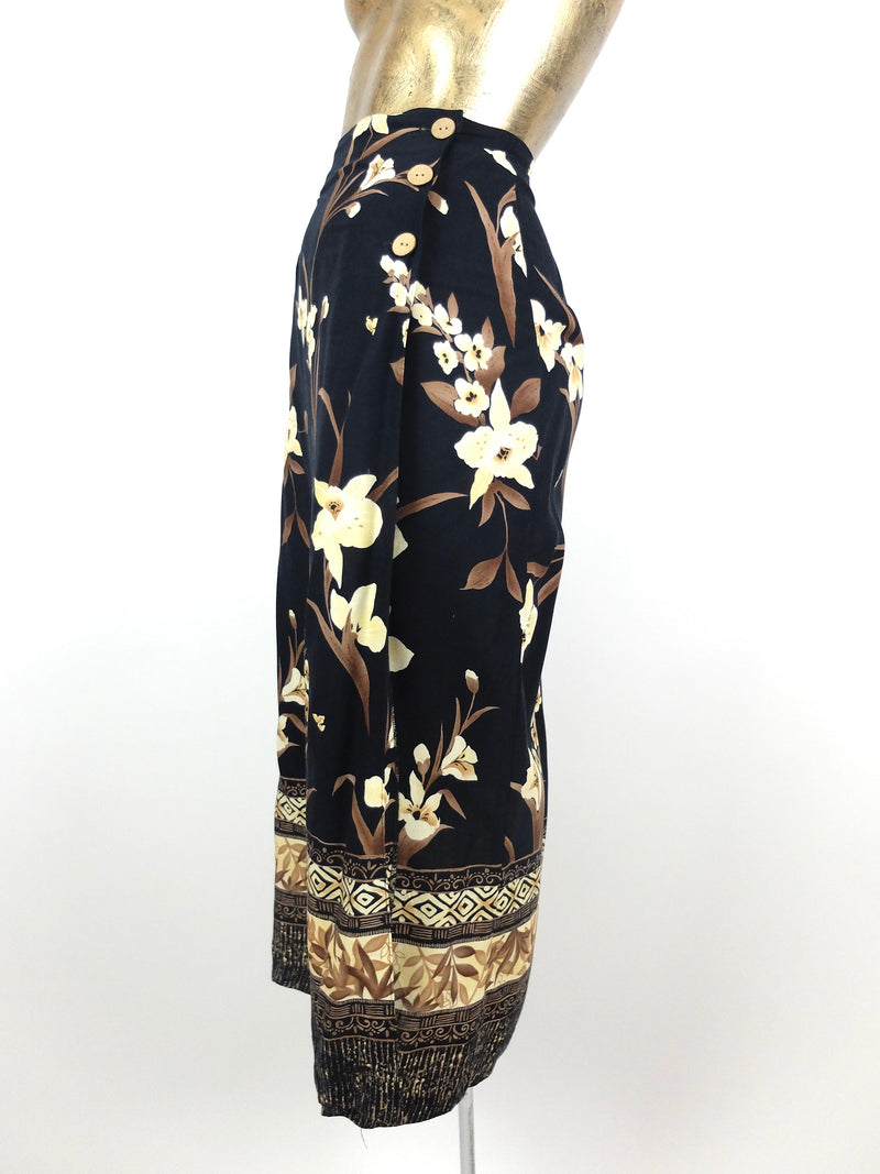 80s Tropical Hawaiian Black Floral High Waisted Straight Silhouette Maxi Skirt