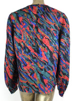 70s Mod Psychedelic Abstract Long Sleeve Blouse