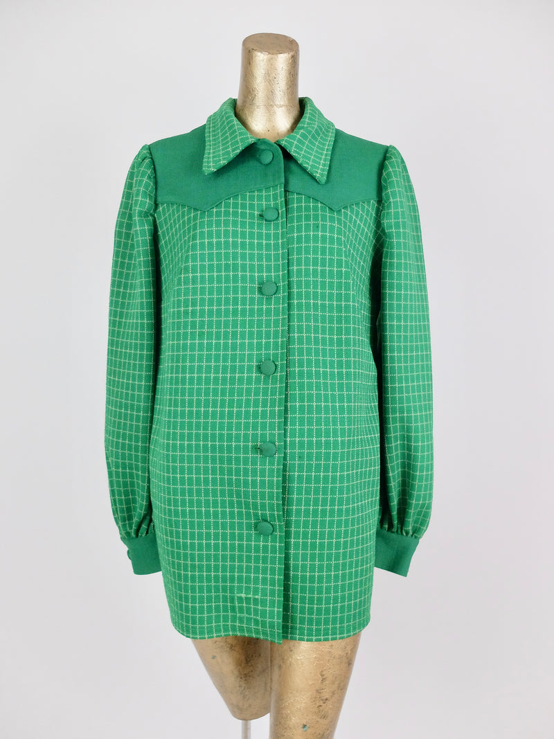 60s Mod Grid Check Print Collared Button Down Blazer Jacket