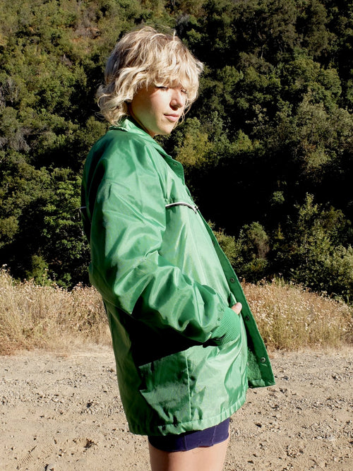 60s Athletic Mod Bright Green Water Resistant Padded Windbreaker Jacket