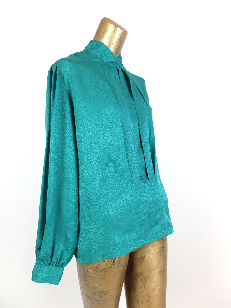 80s Turquoise Floral Silky Long Sleeve Pleated Mockneck Blouse