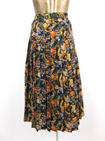 70s Floral Abstract High Waisted Drop Waist Pleated Below-the-Knee Midi Skirt