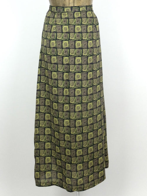 80s Bohemian Abstract Patterned Moss Green High Waisted Straight Silhouette Maxi Skirt