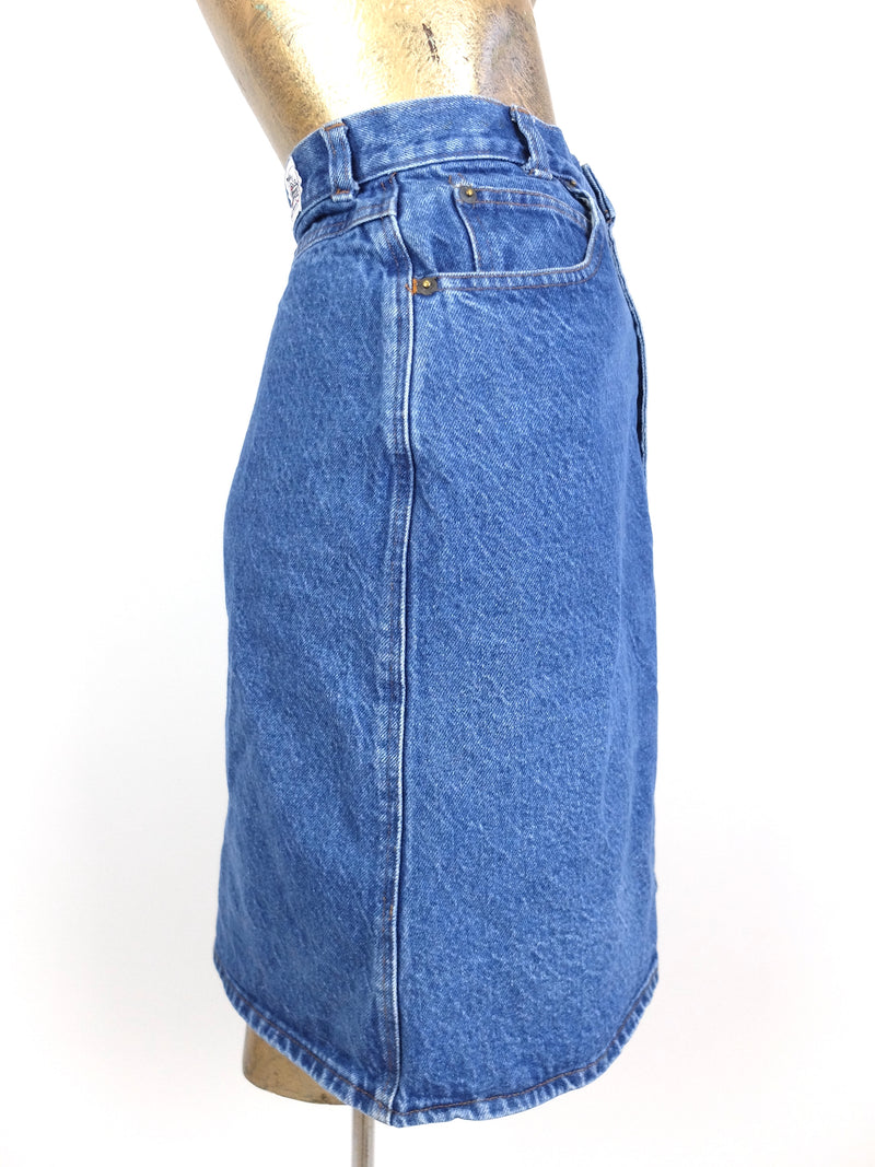 80s Utilitarian Medium Wash Denim High Waisted A-Line Denim Mini Skirt