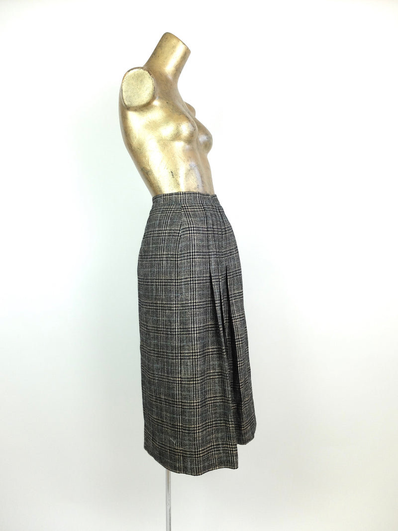 80s High Waisted Grey Tartan Check Print Pleated A-Line Midi Skirt