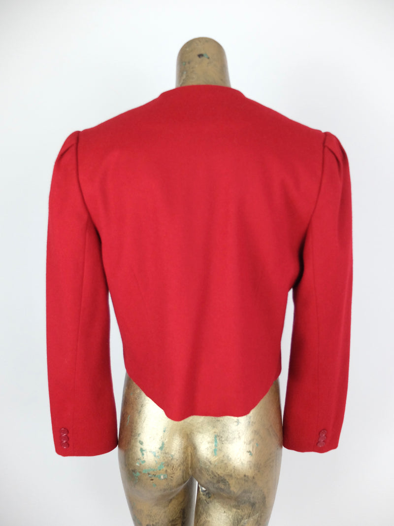 80s Mod Style Red Wool Structured Boxy Button Down Puff Sleeve Blazer Jacket with Padded Shoulders