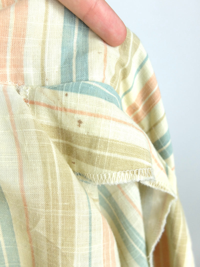 70s Striped Long Sleeve Collared Button Up Linen Shirt