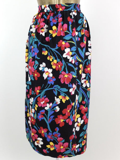 80s Floral High Waisted Midi Circle Skirt with Pockets