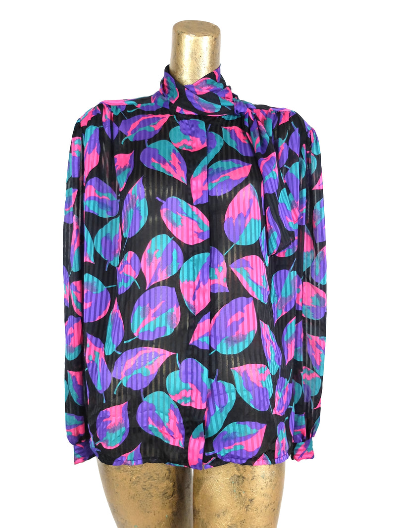 60s Mod Psychedelic Abstract Button Up Puff Sleeve Button Up Blouse with Neck Tie