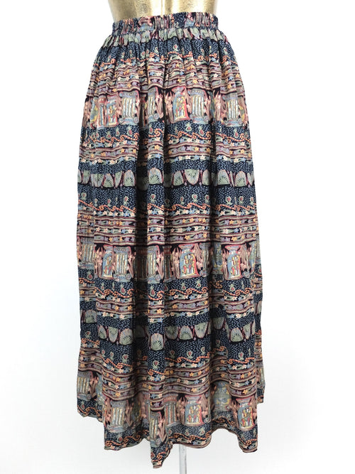 80s Deadstock Bohemian Abstract Patterned High Waisted Circle Maxi Skirt