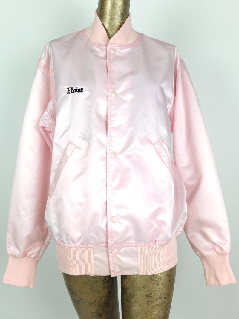 80s Athletic Silky Satin Baby Pink Mockneck Embroidered Baseball Bomber Jacket