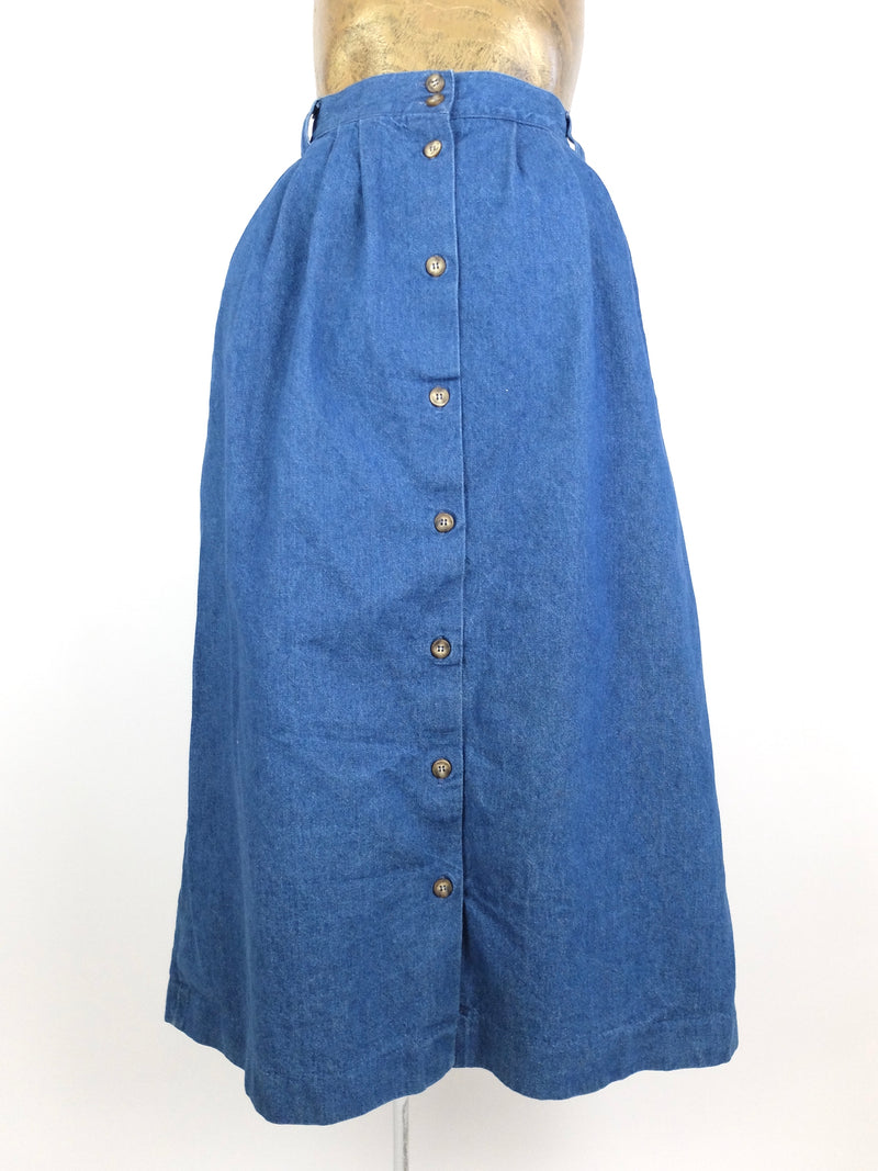 80s Western Prairie Style Square Dancing High Rise Button Down Denim Jean Maxi Skirt