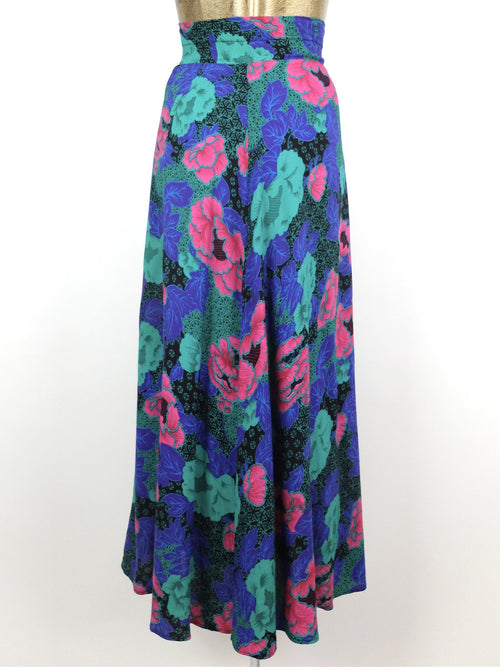 80s Bright Abstract Floral Print High Waisted Circle Maxi Skirt with Pockets