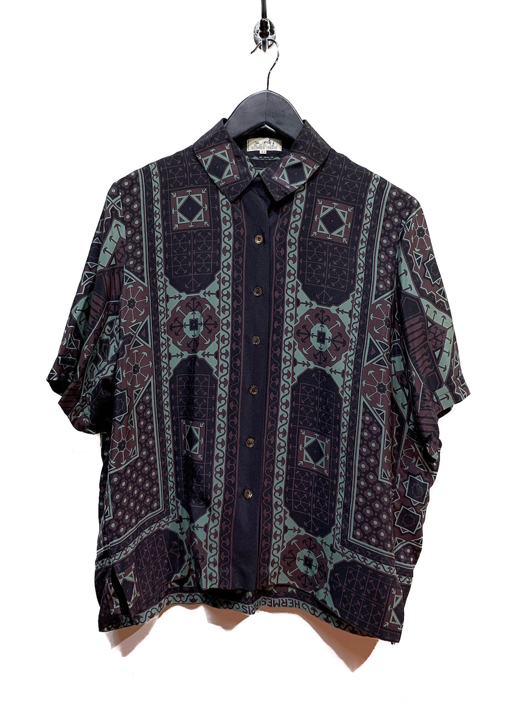 Hermès Vintage Arabia by Rybal Black Printed Silk Blouse Shirt
