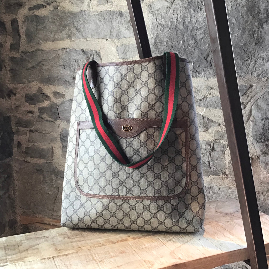 Gucci Brown Obsedia Canvas Monogram Tote With Web Straps