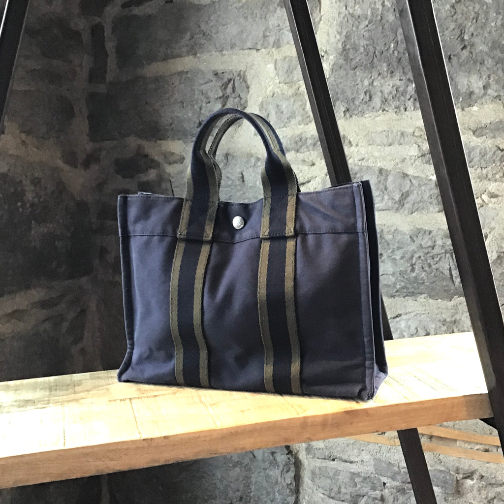Hermès Navy & Green Fourre Tout PM Cotton Tote