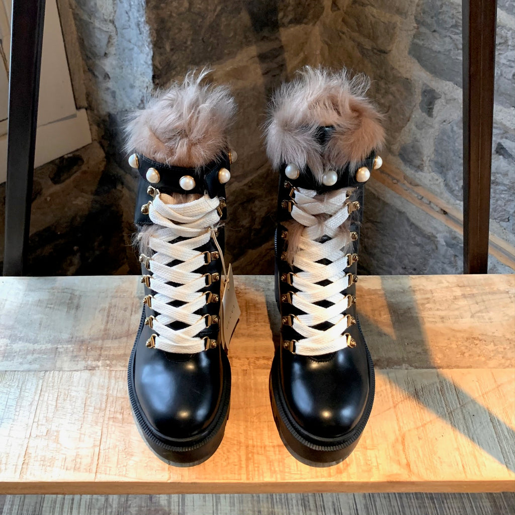 Gucci Black Leather Trip Heeled Fur Pearl Boots