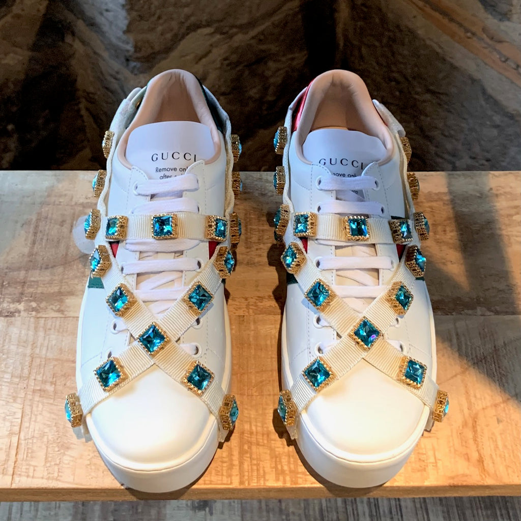 Gucci White Ace Platform Sneakers with Crystals Straps